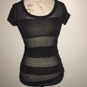 Forever 21 long color block black & mesh tee Small